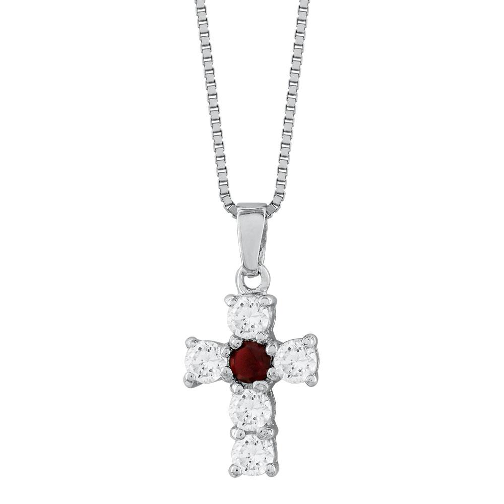 Γυναικείος Σταυρός με Κόκκινη Πέτρα Σε Ασήμι ST2663