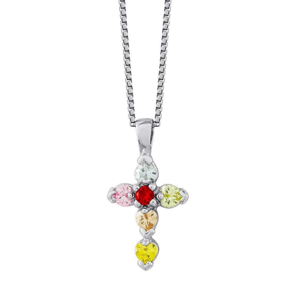 Γυναικείος Σταυρός με Πολύχρωμες Πέτρες Σε Ασήμι ST2664