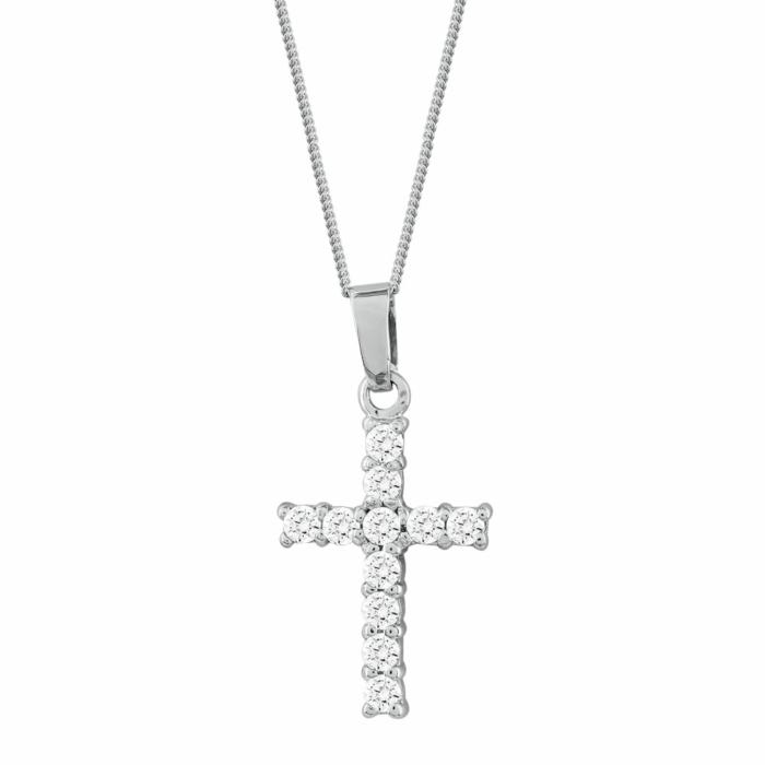 Γυναικείος Σταυρός με Πέτρες Σε Ασήμι ST2661