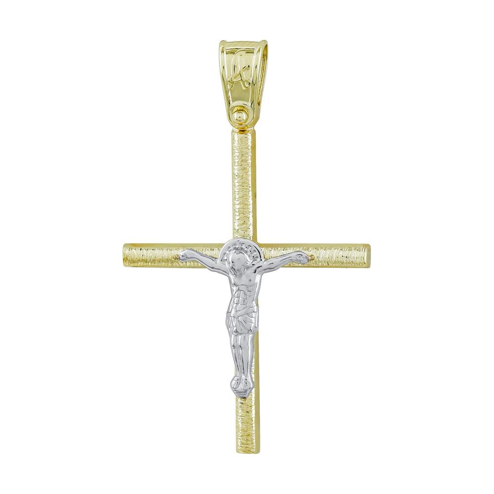 Σταυρός Βάπτισης Ανδρικός Σε Δίχρωμο Χρυσό Κ14 ST2692