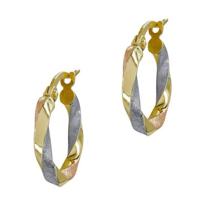 Σκουλαρίκια Κρίκοι από Τρίχρωμο Χρυσό Κ14 SK1203