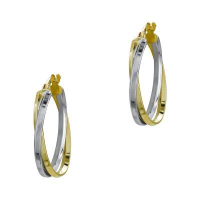 Σκουλαρίκια Κρίκοι από Δίχρωμο Χρυσό Κ14 SK1210