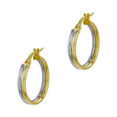 Σκουλαρίκια Κρίκοι από Δίχρωμο Χρυσό Κ14 SK1217