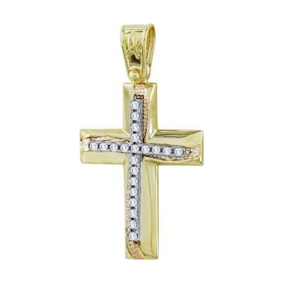 Σταυρός Βάπτισης Γυναικείος Σε Δίχρωμο Χρυσό Κ14 Με Πέτρες ST2735