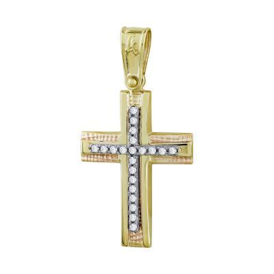 Σταυρός Βάπτισης Γυναικείος Σε Δίχρωμο Χρυσό Κ14 Με Πέτρες ST2724