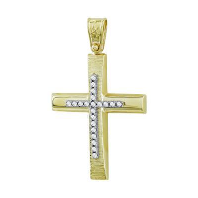 Σταυρός Βάπτισης Γυναικείος Σε Δίχρωμο Χρυσό Κ14 Με Πέτρες ST2734