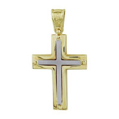 Σταυρός Βάπτισης Ανδρικός Σε Δίχρωμο Χρυσό Κ14 ST2711
