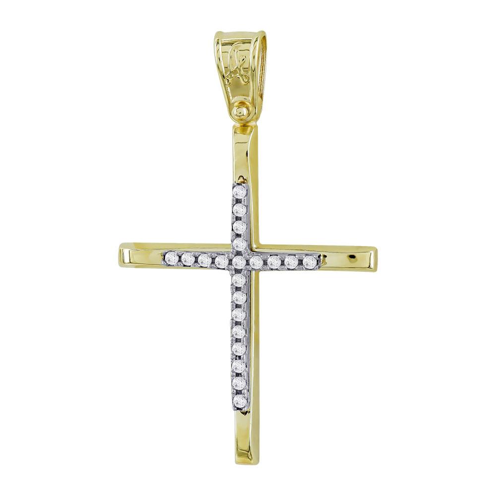 Σταυρός Βάπτισης Γυναικείος Σε Δίχρωμο Χρυσό Κ14 Με Πέτρες ST2694