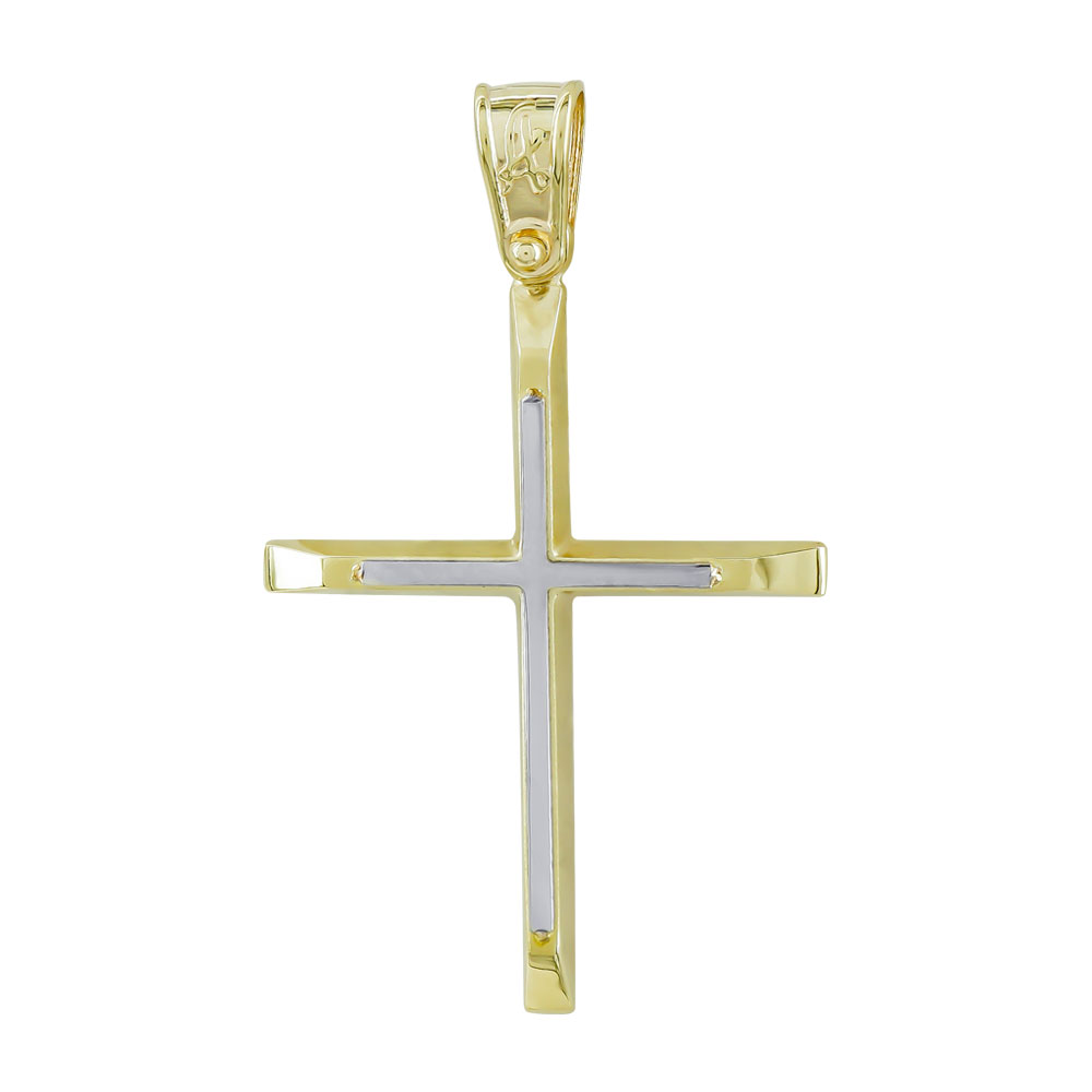 Σταυρός Βάπτισης Ανδρικός Σε Δίχρωμο Χρυσό Κ14 ST2705