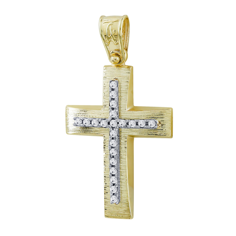 Σταυρός Βάπτισης Γυναικείος Σε Δίχρωμο Χρυσό Κ14 Με Πέτρες ST2717