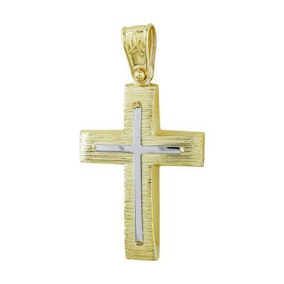 Σταυρός Βάπτισης Ανδρικός Σε Δίχρωμο Χρυσό Κ14 ST2730