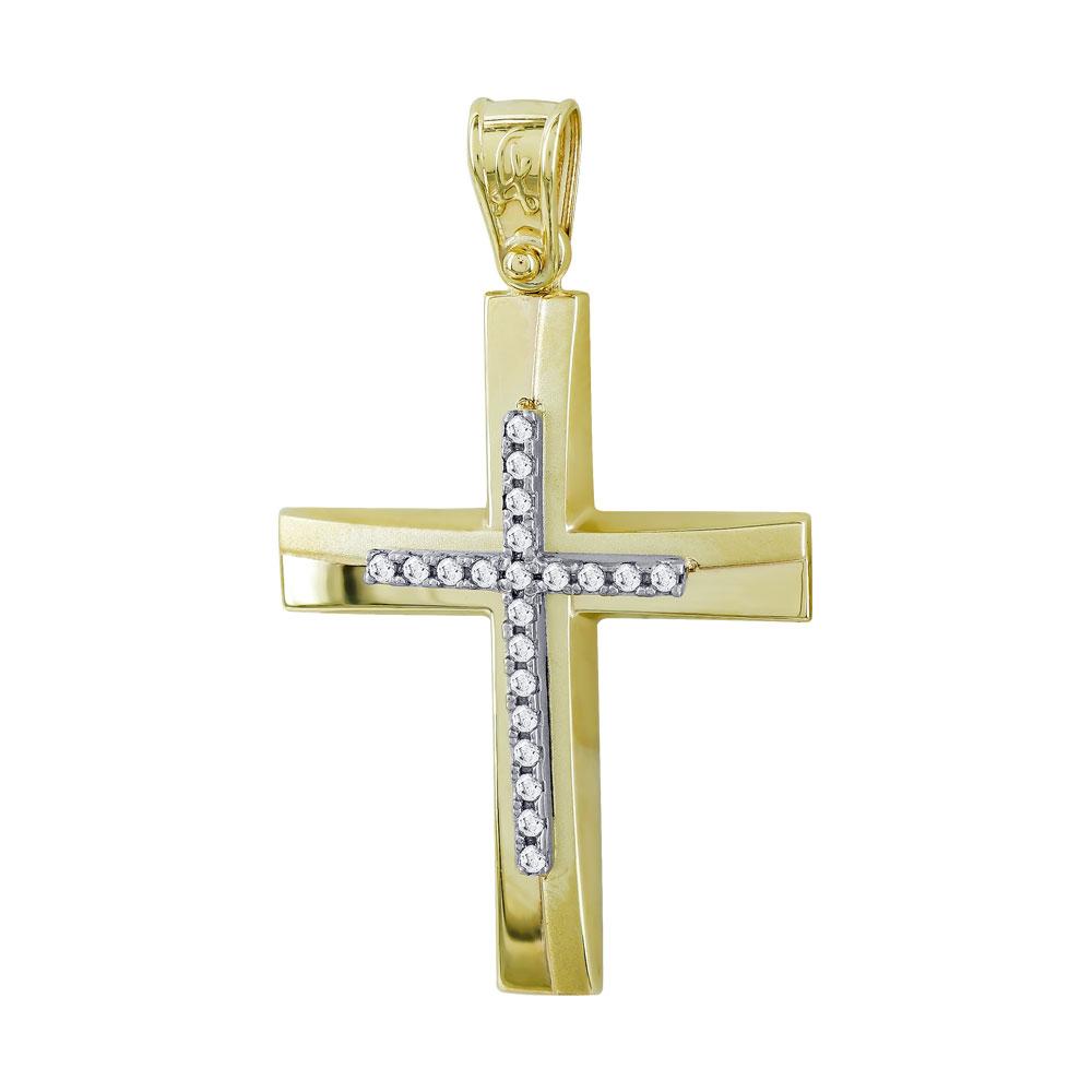 Σταυρός Βάπτισης Γυναικείος Σε Δίχρωμο Χρυσό Κ14 Με Πέτρες ST2736