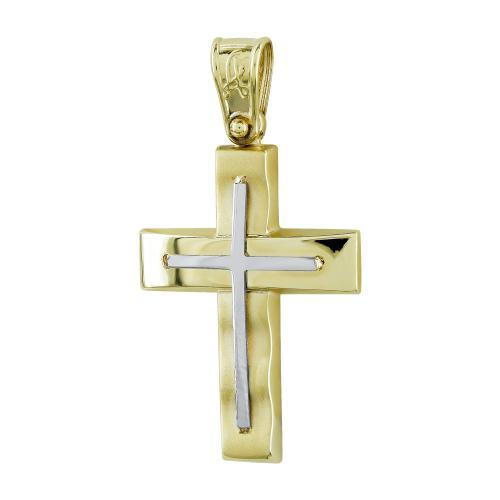 Σταυρός Βάπτισης Ανδρικός Σε Δίχρωμο Χρυσό Κ14 ST2723