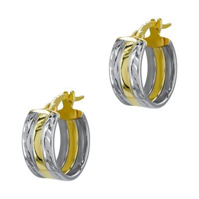 Σκουλαρίκια Κρίκοι από Δίχρωμο Χρυσό Κ14 SK1218