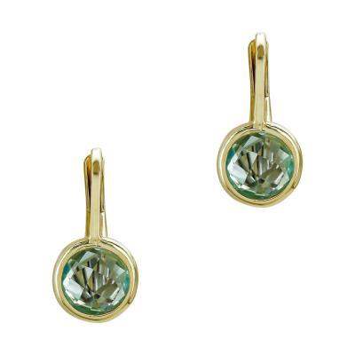 Σκουλαρίκια με Γαλάζιες Πέτρες από Κίτρινο Χρυσό Κ14 SK1207