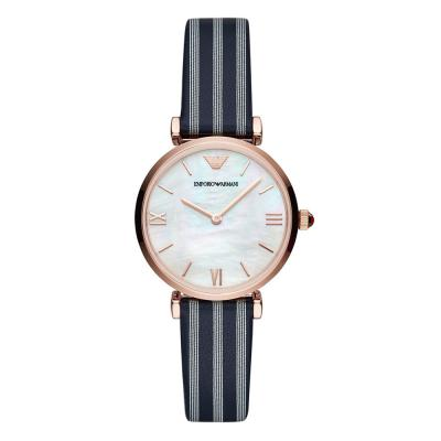 EMPORIO ARMANI Gianni T-Bar Rose Gold Blue Leather Strap AR11224