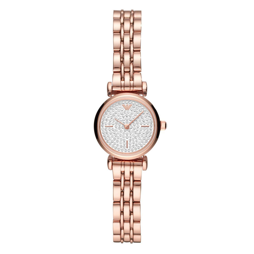 EMPORIO ARMANI Gianni T-Bar Crystals Rose Gold Stainless Steel Bracelet AR11266