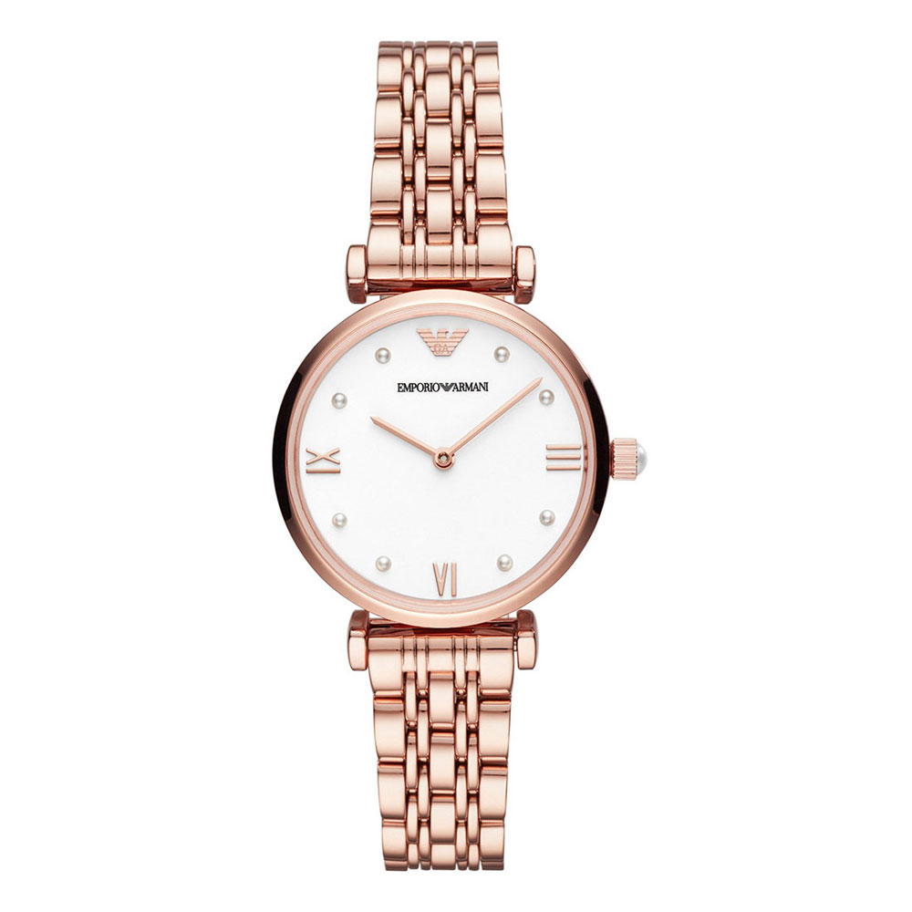 EMPORIO ARMANI Gianni T-Bar Rose Gold Stainless Steel Bracelet AR11267