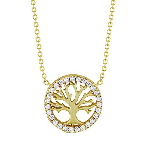 Κολιέ με το Δέντρο Της Ζωής από Κίτρινο Χρυσό Κ9 KL106992