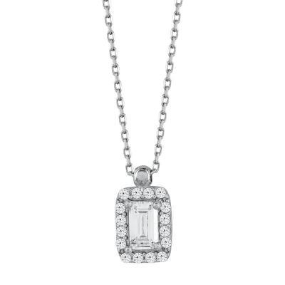 Κολιέ με Πέτρες από Λευκό Χρυσό Κ14 KL108440