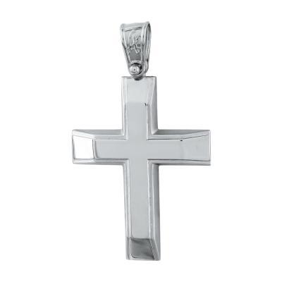 Σταυρός Βάπτισης Ανδρικός Σε Λευκό Χρυσό Κ14 ST2728