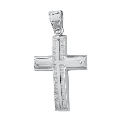 Σταυρός Βάπτισης Ανδρικός Σε Λευκό Χρυσό Κ14 ST2740