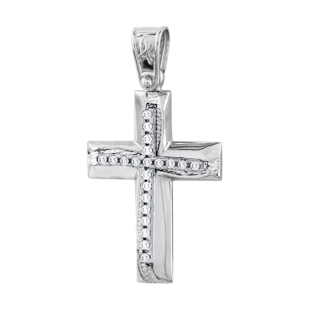 Σταυρός Βάπτισης Γυναικείος Σε Λευκό Χρυσό Κ14 Με Πέτρες ST2714