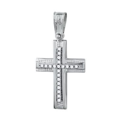 Σταυρός Βάπτισης Γυναικείος Σε Λευκό Χρυσό Κ14 Με Πέτρες ST2716