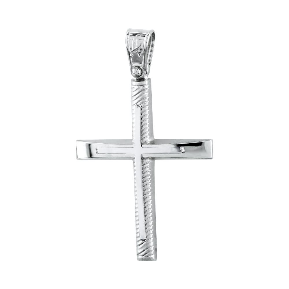 Σταυρός Βάπτισης Ανδρικός Σε Λευκό Χρυσό Κ14 ST2691