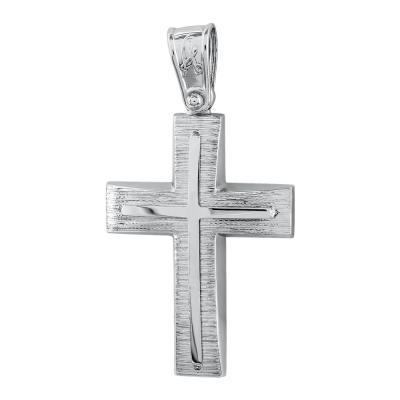 Σταυρός Βάπτισης Ανδρικός Σε Λευκό Χρυσό Κ14 ST2710