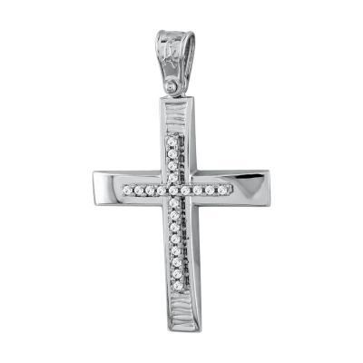 Σταυρός Βάπτισης Γυναικείος Σε Λευκό Χρυσό Κ14 Με Πέτρες ST2719