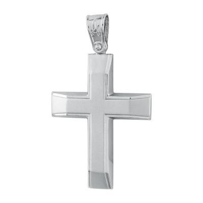 Σταυρός Βάπτισης Ανδρικός Σε Λευκό Χρυσό Κ14 ST2732