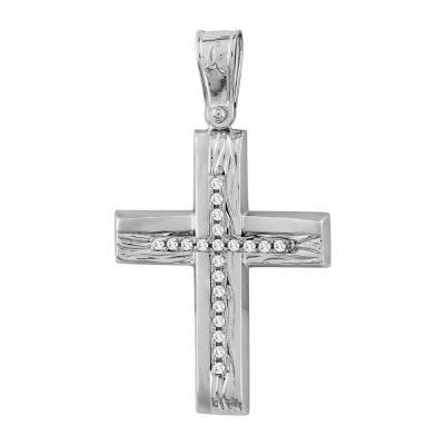 Σταυρός Βάπτισης Γυναικείος Σε Λευκό Χρυσό Κ14 Με Πέτρες ST2720
