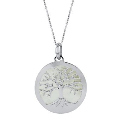 Κολιέ με Το Δέντρο Της Ζωής από Λευκό Χρυσό Κ14 KL1018
