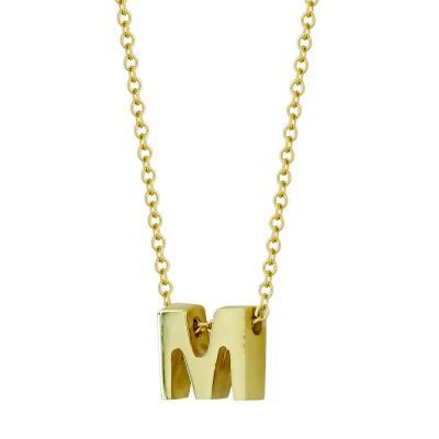 """Μονόγραμμα Μενταγιόν """"M"""" Από Κίτρινο Χρυσό Κ9 MG106937"""