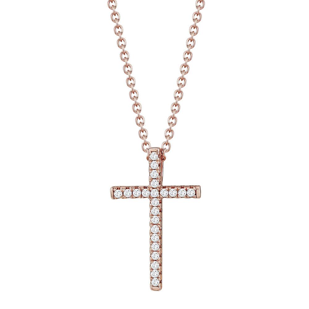 Σταυρουδάκι Μενταγιόν Από Ροζ Επιχρυσωμένο Ασήμι STM473