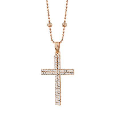 Γυναικείος Σταυρός με Πέτρες Σε Ροζ Επιχρυσωμένο Ασήμι ST2660
