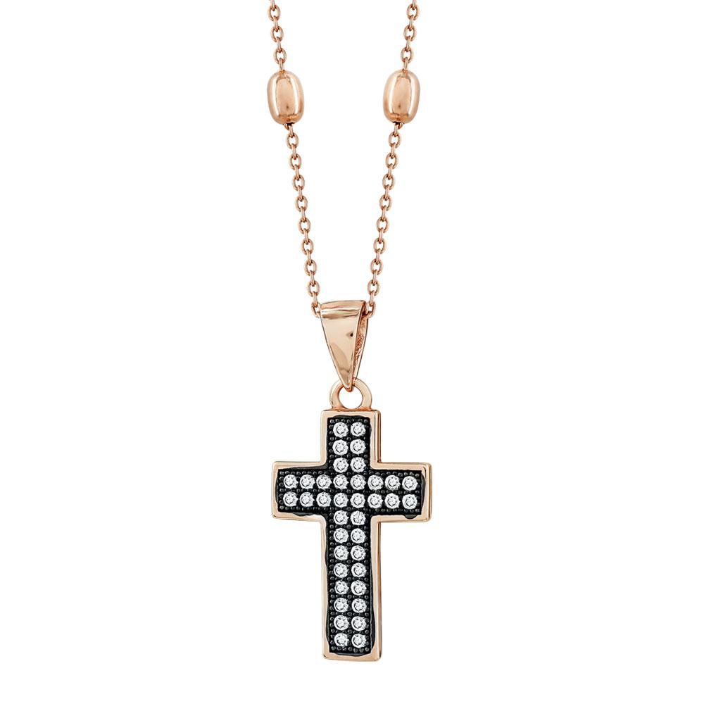 Γυναικείος Σταυρός με Πέτρες Σε Ροζ Επιχρυσωμένο Ασήμι ST2659