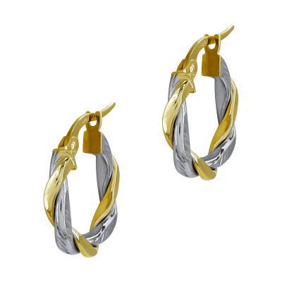 Σκουλαρίκια Κρίκοι από Δίχρωμο Χρυσό Κ14 SK1229