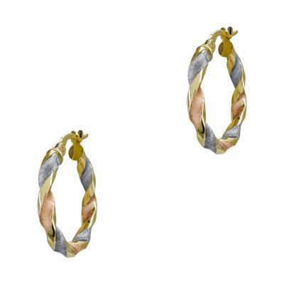 Σκουλαρίκια Κρίκοι από Τρίχρωμο Χρυσό Κ14 SK1204