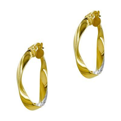 Σκουλαρίκια Κρίκοι από Δίχρωμο Χρυσό Κ14 SK1214