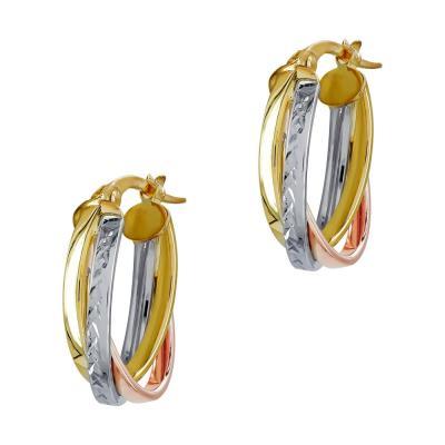 Σκουλαρίκια Κρίκοι από Τρίχρωμο Χρυσό Κ14 SK1216