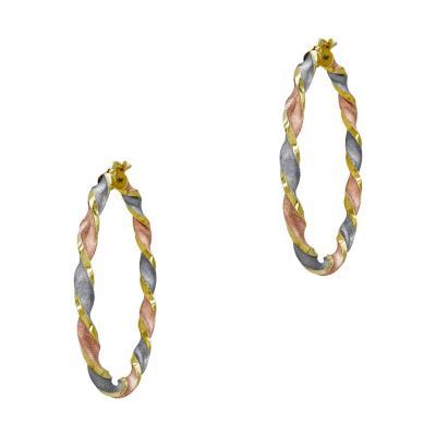 Σκουλαρίκια Κρίκοι από Τρίχρωμο Χρυσό Κ14 SK1221