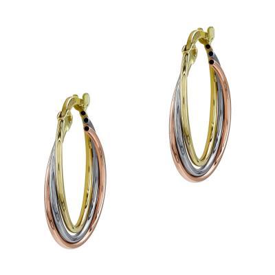 Σκουλαρίκια Κρίκοι από Τρίχρωμο Χρυσό Κ14 SK1225