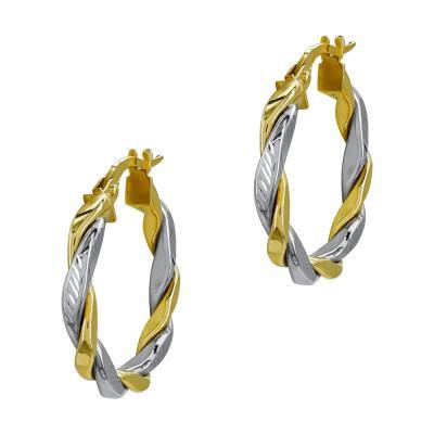 Σκουλαρίκια Κρίκοι από Δίχρωμο Χρυσό Κ14 SK1226