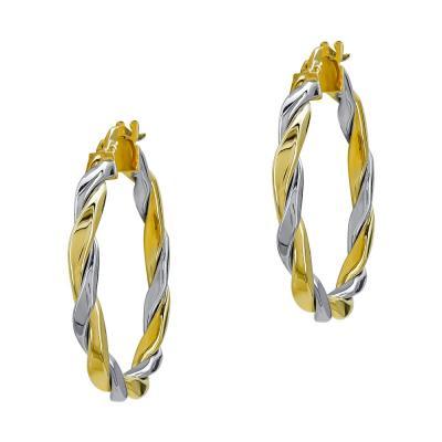 Σκουλαρίκια Κρίκοι από Δίχρωμο Χρυσό Κ14 SK1227