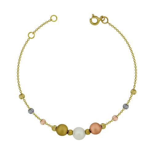 Bραχιόλι με Φυσικό Μαργαριτάρια από Kίτρινο Χρυσό Κ14 VR108231