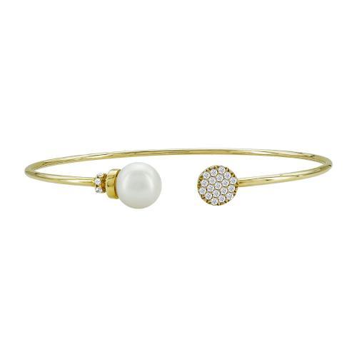 Bραχιόλι με Mαργαριτάρι από Kίτρινο Χρυσό Κ14 VR102342