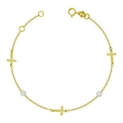 Bραχιόλι με Σταυρουδάκια από Kίτρινο Χρυσό Κ9 VR107321