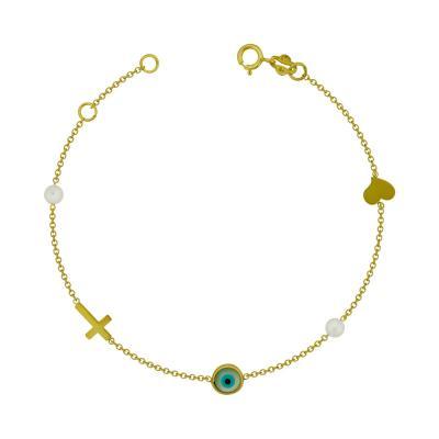 Bραχιόλι με Φυσικό Μαργαριτάρι και Ματάκι από Kίτρινο Χρυσό Κ9 VR107396